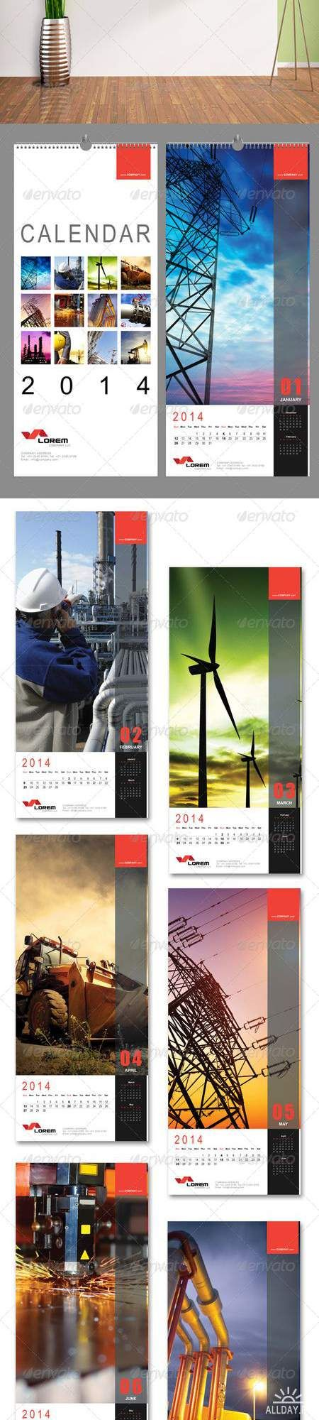 CORPORATE WALL CALENDAR 2014 * Interesting, long shape adds interest. Also allows for space while not interrupting design with spiral hardware in middle.