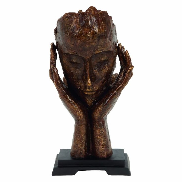 Thinking Man Statue Tabletop Bust Bronze Modern Home End Table Shelf Decor…