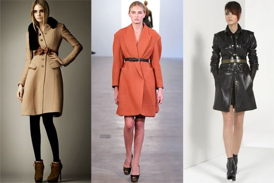 I love a cinched coat.  And that tangerine one in the middle is a double want.  Like right now please.