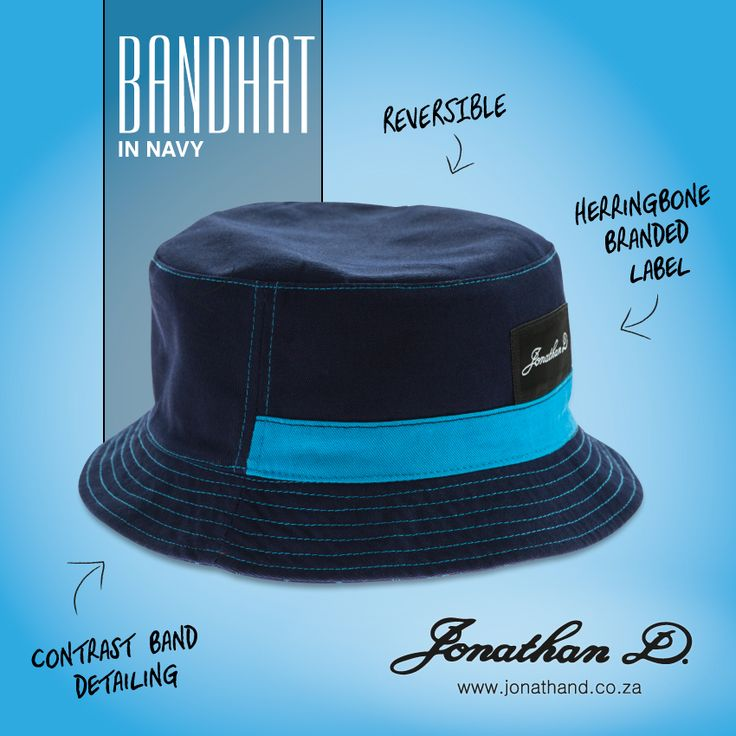 The essential summer item. Jonathan D's Bandhat is a reversible bucket hat with contrast band entailing and a herringbone branded label.
