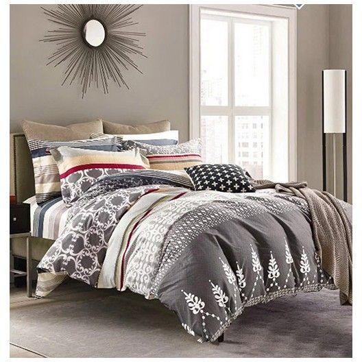 Sivé obojstranné posteľné obliečky so vzormi