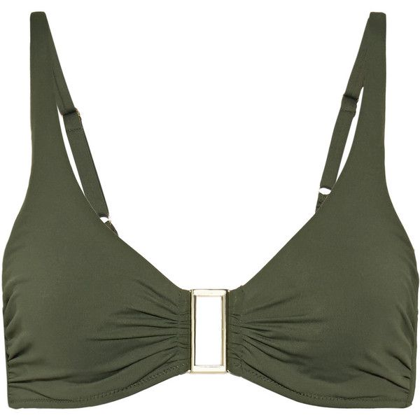 Melissa Odabash The Bel Air embellished underwired bikini top ($112) ❤ liked on Polyvore featuring swimwear, bikinis, bikini tops, army green, tankini tops, embellished bikini, underwire bikini tops, army green bikini top and swimsuit tops