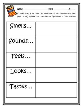 Popcorn Descriptive Writing activity