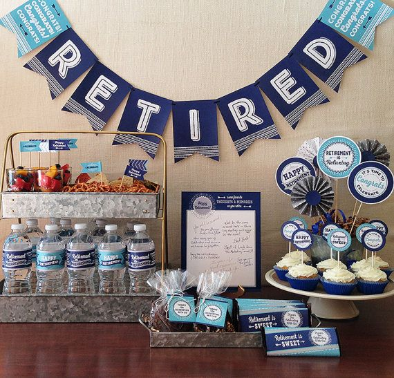 Retirement Party Printable Package, Navy Blue & Turquoise, Includes Candy Bar Wrapper, Cupcake Toppers, Banner, Tags and More