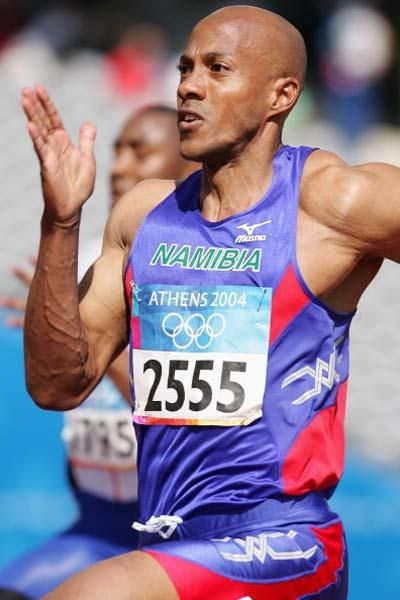 Frankie Fredericks representing Namibia at the 2004 Athens Olympics