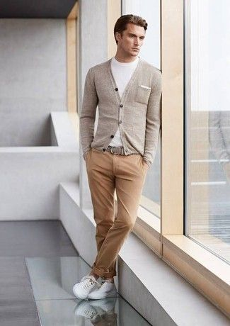 Men's White Crew-neck T-shirt, Grey Cardigan, Grey Leather Belt, Khaki Chinos, and White Low Top Sneakers