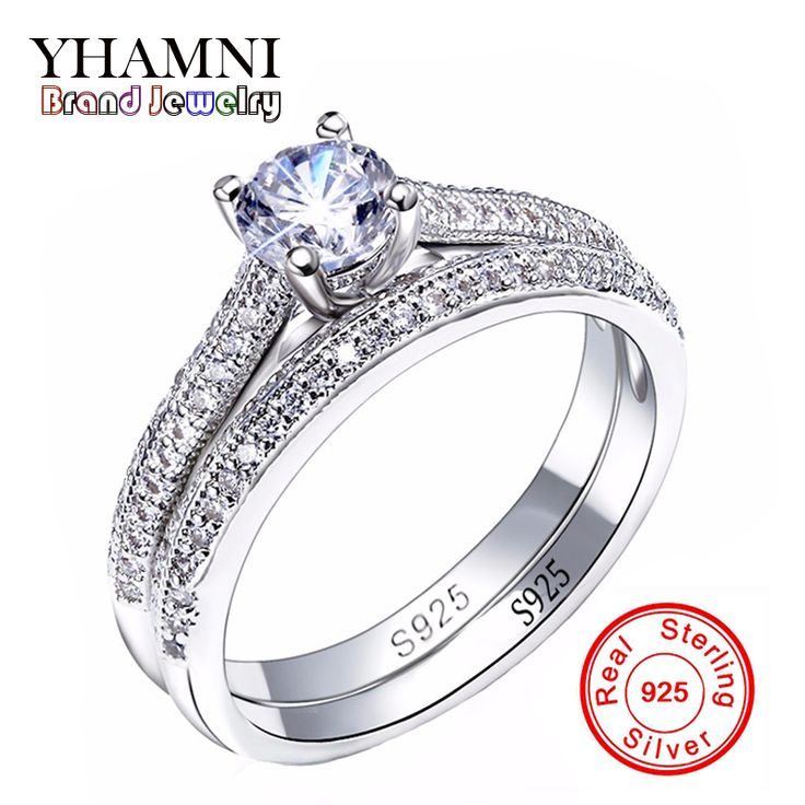 소나 CZ 다이아몬드 약혼 반지 925 스털링 실버 반지 밴드 반지 약속 반지 신부 보석 AR131