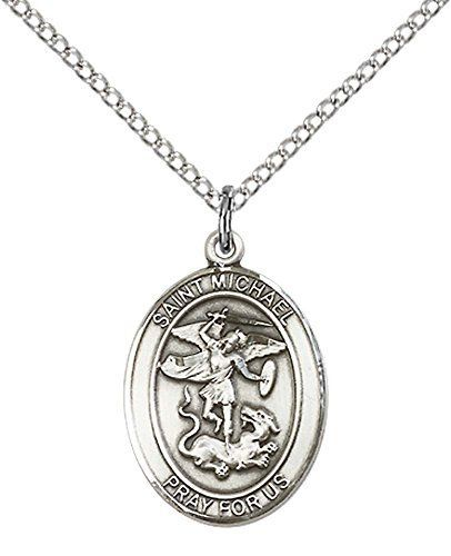 Sterling Silver St Michael the Archangel Pendant with 18 Sterling Silver Lite Curb Chain Patron Saint of Police OfficersEMTs ** Click image for more details.