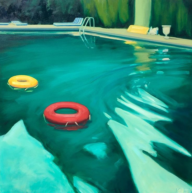 """T.S. Harris – """"Swimming Pool"""" Dark Green Water in Evening Light with Orange and Red Pool Toys"""
