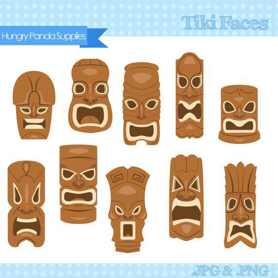 Tiki Mask Clipart, tiki faces clipart, tiki statues clip art, hawaiian tiki digital clipart set
