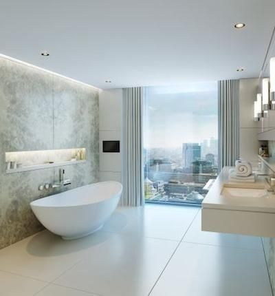 A light bright bathroom with quality marble slabs. The top - niche behind the bath adds both appeal and practical storage within this room. #primelocation
