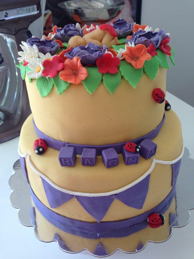 Baptism cake - flowerpower
