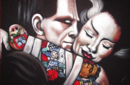 Frankenstein-wife-Cholo-Original-Oil-Painting-Art-Mexican-Black-Velvet-JG54