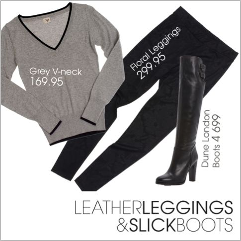 Layer leather leggings with luxurious knits.