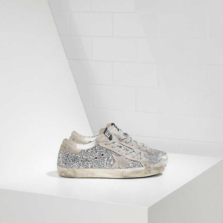 Sneakers SUPER STAR in Pelle spalmata all over glitter e Stella in Camoscio - Women