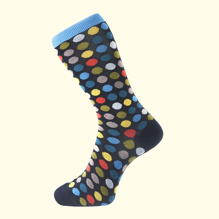 Spot Pattern Sock in Navy Blue