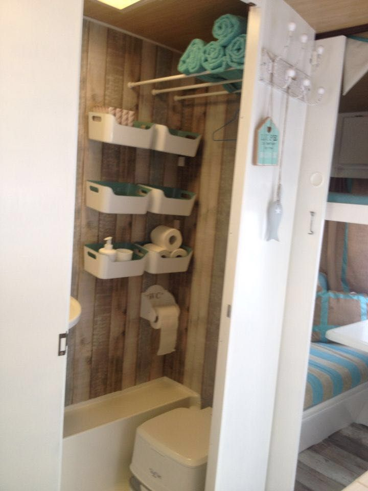 Tiny bathroom ideas: container- basket shelves