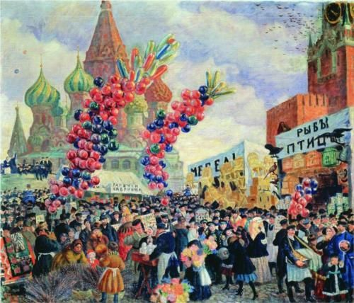 Palm Sunday near the Spassky Gate on the Red Square in Moscow - Boris Kustodiev
