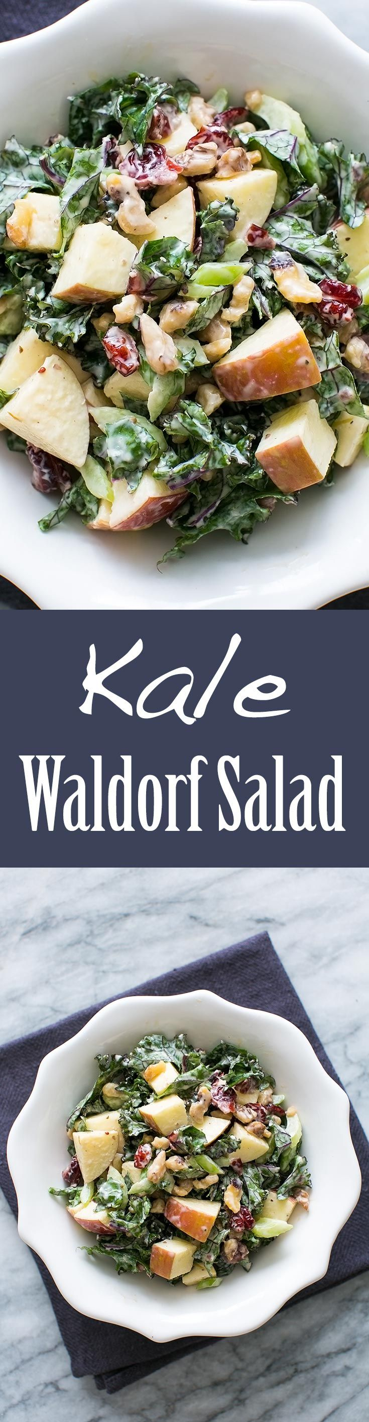 Best kale salad ever! A kale waldorf salad with apples, celery, walnuts, dried cranberries, and tangy mayo dressing