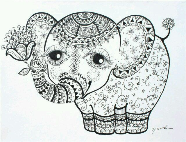 20 best Adult coloring Elephants images on Pinterest Coloring - best of complex elephant coloring pages