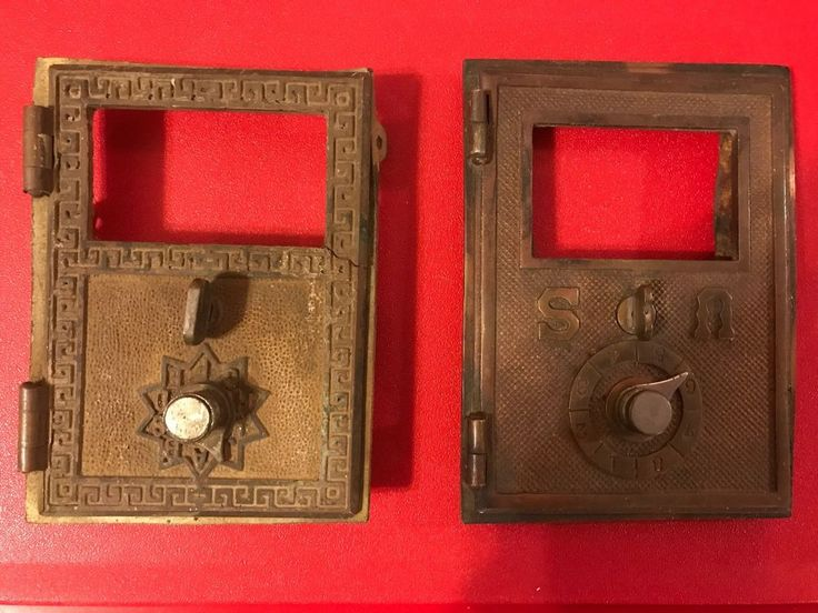 Pair of Vintage Brass Post Office Mailbox Doors, Historical Memorabilia