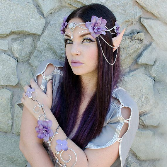 Silver and lavender elven crown  headdress accessory