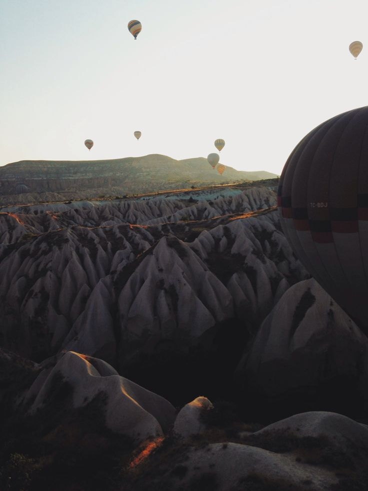 Flying high over the valleys of Goreme. Turkey