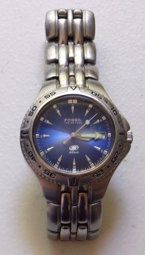 Men's Fossil Blue Watch AM-3615 Stainless Steel Band Dial Date Untested #Fossil #DressFormal
