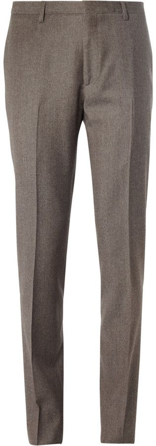 $365, Brown Wool Dress Pants: Calvin Klein Collection Brown Brushed Wool Suit Trousers. Sold by MR PORTER. Click for more info: http://lookastic.com/men/shop_items/84999/redirect