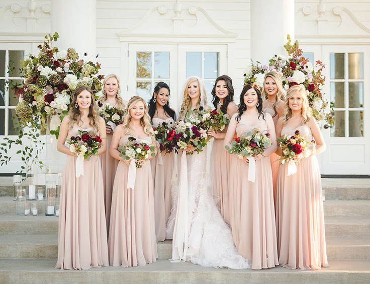Rachel + Joshua's Moody Romantic Fall Wedding | Photography: Shawn Marie Photography | Bridesmaids Attire: Stardust Celebrations | Gown: Bridal Salon at Neiman Marcus | Floral: Stems of Dallas | Planner: Grit + Gold Weddings | Venue: The Milestone Aubrey Mansion & Barn #bridesofnorthtx #wedding #bridesmaids
