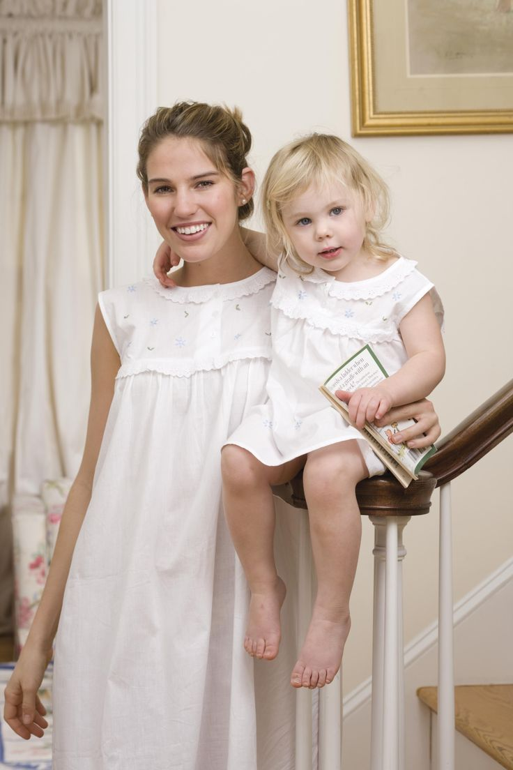 """White Cotton Nightgown for Ladies, White Cotton English Dress for Little Girls """"Twirl time, girl time, story time"""""""""""