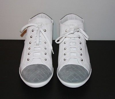 NEW CHANEL Tennis Shoes Womens Size EU 42 US 11 White Leather Sneaker Gray Suede