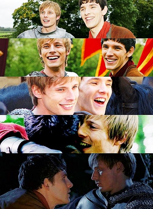 January, 21st, the day that Merthur officially became canon but it's always been canon!!!  Well I think you need both sides of it. And to be fair, we did, very genuinely, think of the episode as a love story between two men. Which is what I think it is.  K: But you can't deny that Merlin and Arthur do love each other?J: No, absolutely.  he's dying… and the man he loves is dying, so he's holding him. I d-