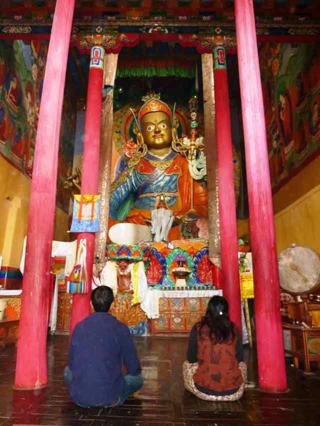 Inside Hemis Monastery. In front the statue of Guru Rimpoche