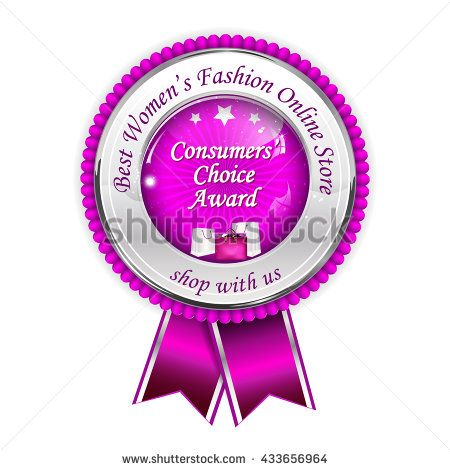 Best Women's Fashion Online Store. Shop with us! Consumers' choice award - metallic pink award ribbon / prize for Fashion industry