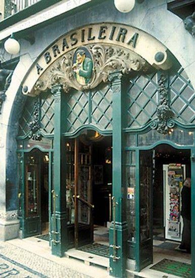 "The Famous ""A Brasileira Café"" since November 19 1905 in Garrett Street, No. 120-122 - Lisbon City - Art Deco architecture - serves the genuine coffee from Brazil"