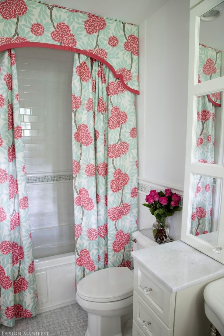 Decorating. Marvellous Design Ideas Of Unique Bathroom Shower Curtains. Comely Design Bathroom Shower Curtains With Pink Blue Colors Floral Pattern Shower Curtains And White Elongated Toilet And White Wooden Bathroom Vanity. Unique Shower Curtain Bathroom. Marvellous Design Ideas Of Unique Bathroom Shower Curtains