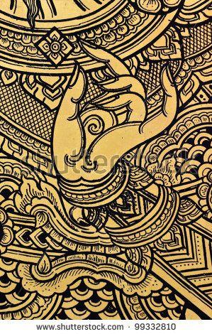 stock photo : Traditional Thai art on temple door