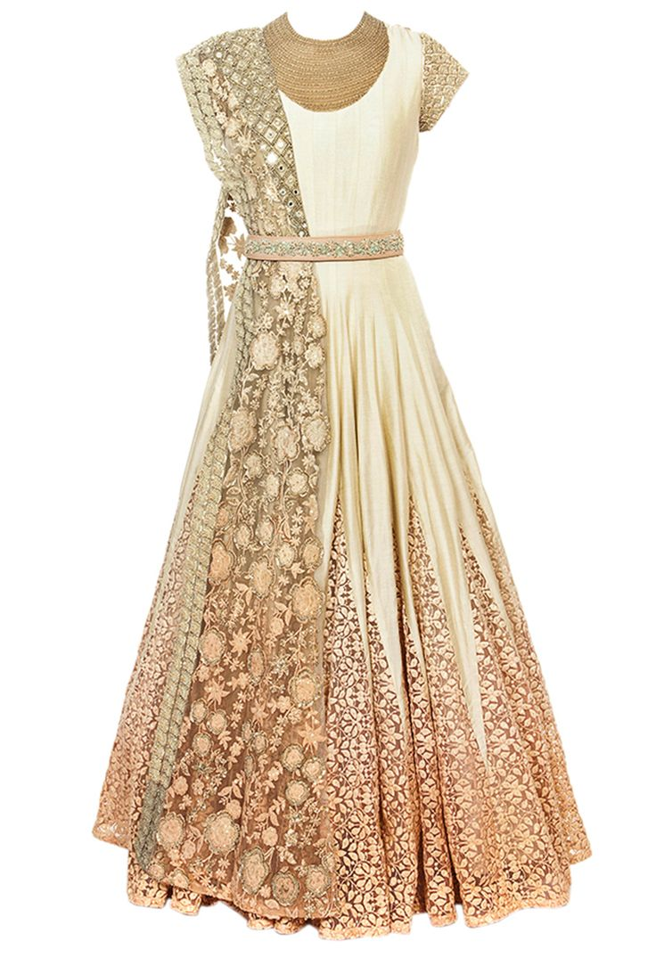 Off white & peach ombre embroidered anarkali set by Ridhima Bhasin - Shop at Aza
