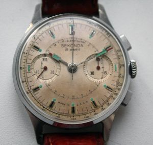 RUSSIAN-WATCHES.INFO - Soviet Vintage Poljot Sekonda STRELA 3017 Russian Military Chronograph Watch White - mens silver watches, mens online watches, sale on mens watches