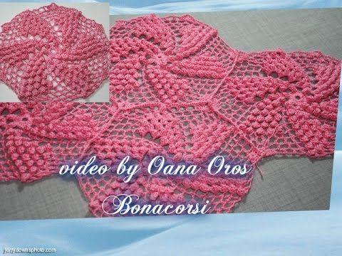 crochet pop corn swirl motif I