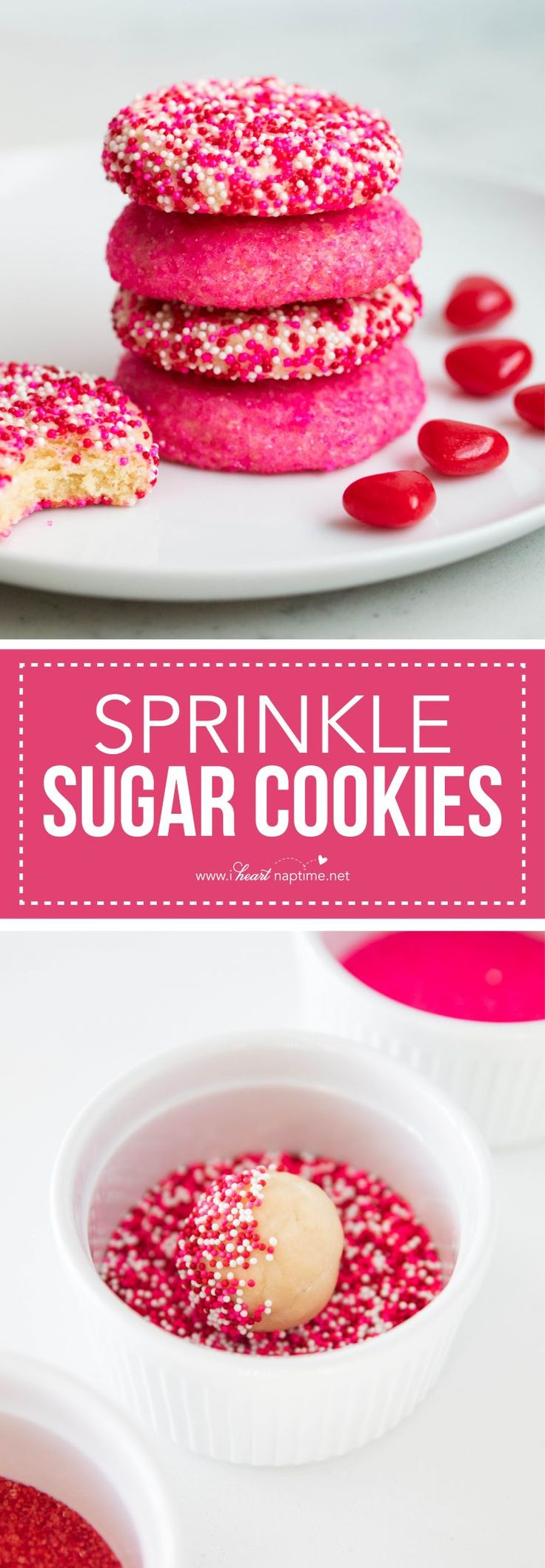 The easiest sugar cookie recipe -perfect for Valentine's Day! These sprinkle sugar cookies are super soft, tender on the inside and deliciously sweet. Much easier than cut out cookies!