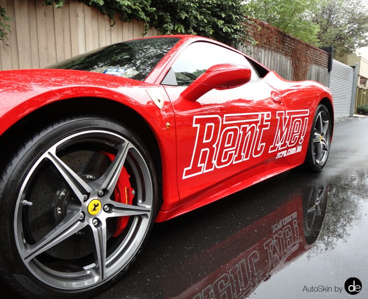 """Rent Me"" #Ferrari #AutoSkin #SportsCarRentals #vehiclebranding #driveyourbrandhome"