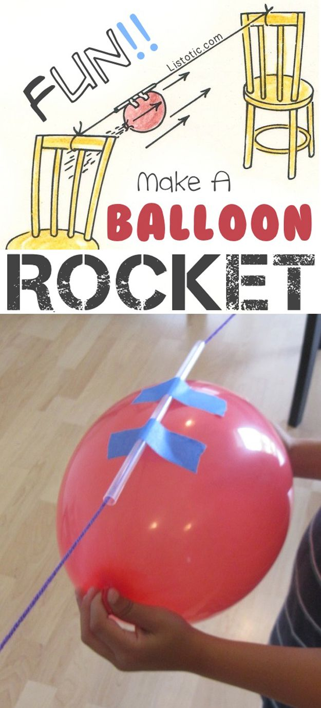 DIY Balloon Rocket | Cool Craft Project for Boys by DIY Ready at www.diyready.com/diy-kids-crafts-you-can-make-in-under-an-hour/