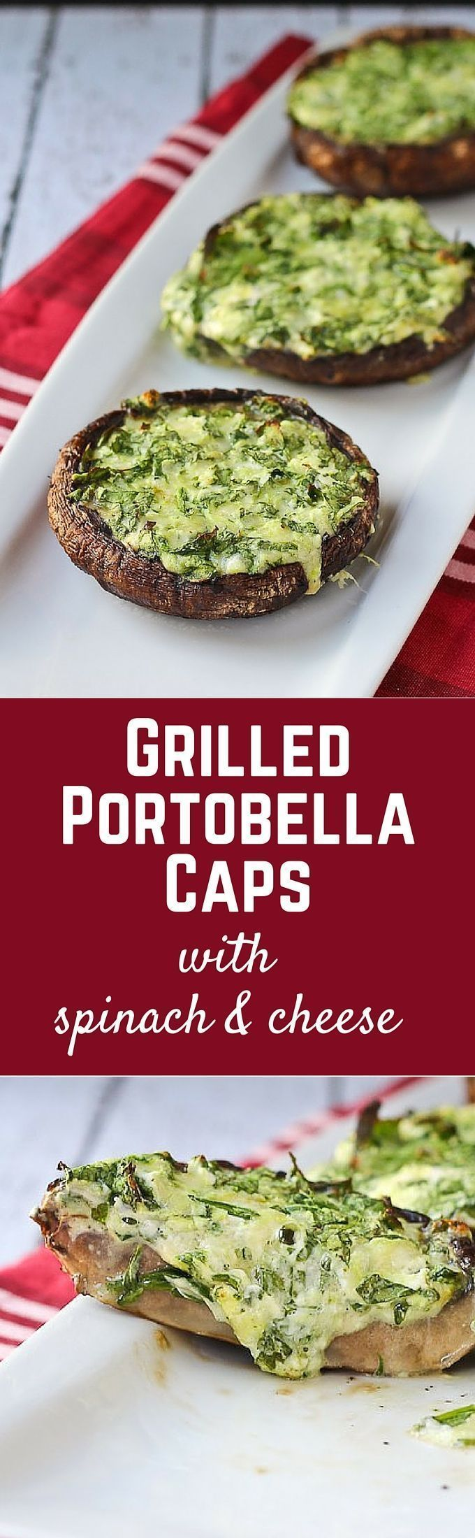 Grilled Portobella Mushroom Caps with Spinach and Cheese will become your must-have grilling side dish or vegetarian meal! Get the easy recipe on http://RachelCooks.com!