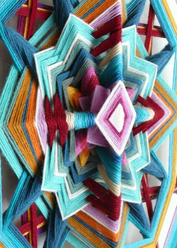 Ojo de Dios yarn mandala Butterfly Sky 18 inch in par JaysMandalas