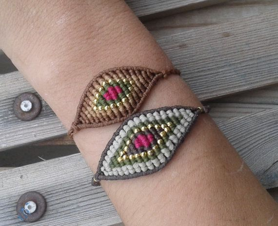 Macrame eye bracelet big size/ handmade jewelry/ by lulupica