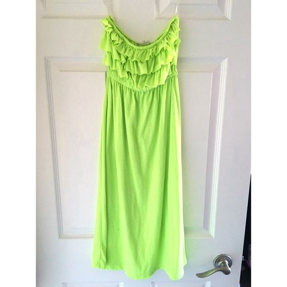 Lime green beach dress Lime green swim dress. A little see through as you can see on one picture you can see my hand. Perfect for wearing over swim suit. Size Medium, worn once. Swim Coverups