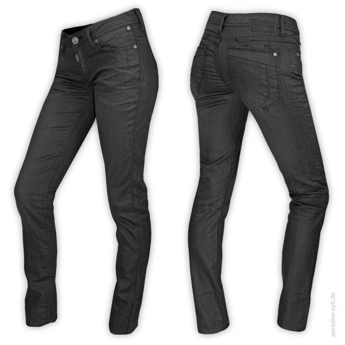 Timezone  Jeans NINI  Leicht schimmernde Slim Fit Damenhose.      breite Gürtelschlaufen     Zip-Fly     2 seitliche Eingrifftaschen + 1 Münzfach     2 Gesäßtaschen mit einem kleineren Fach     Mischgewebe     schlichtes Design     Farbe: schwarz