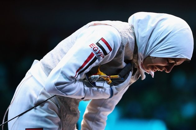 LONDON, ENGLAND - AUGUST 02: Shaimaa Elgammal of Egypt is injured in the Women's Foil Team Fencing round of 16 against Great Britain on Day 6 of the London 2012 Olympic Games at ExCeL on August 2, 2012 in London, England. (Photo by Hannah Johnston/Getty Images)